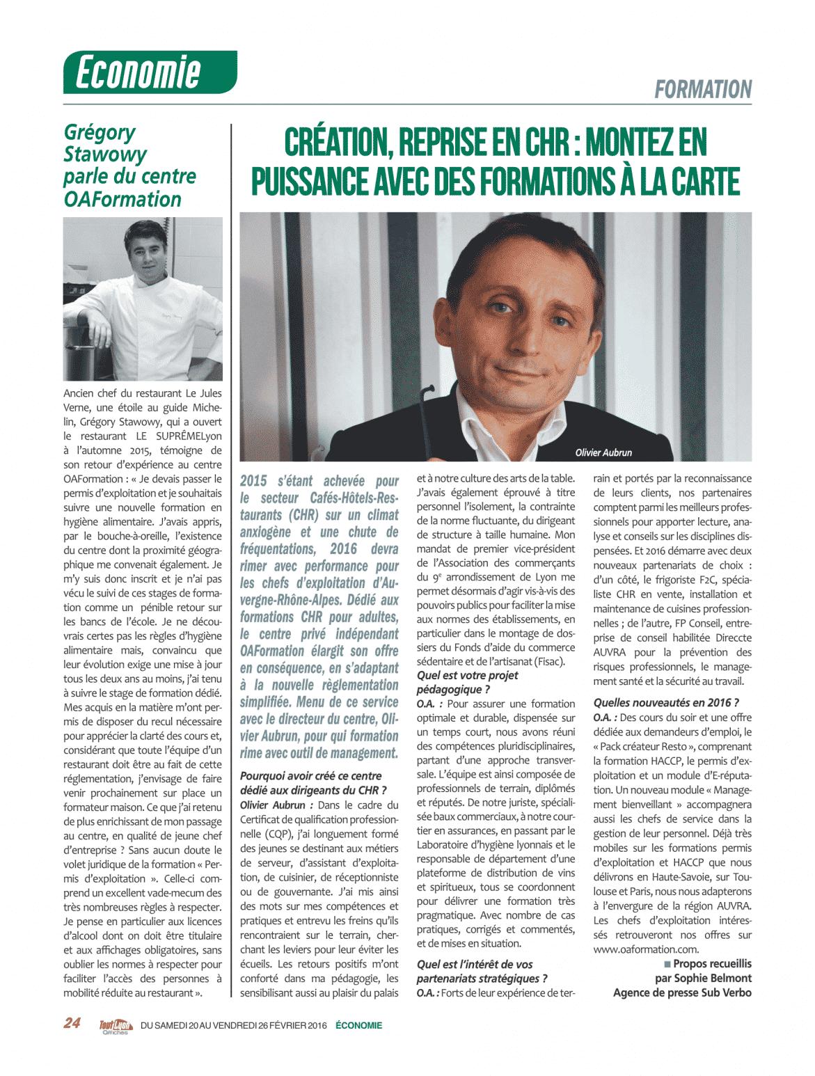 article sur le restaurant le Suprême à Lyon